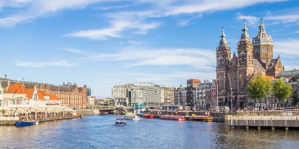 Panorama of the St. Nicolas Church in the center  of Amsterdam, Holland